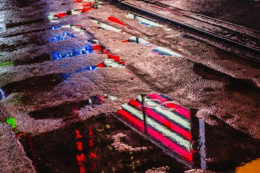 New york prints rain.reflection,stars and stripes