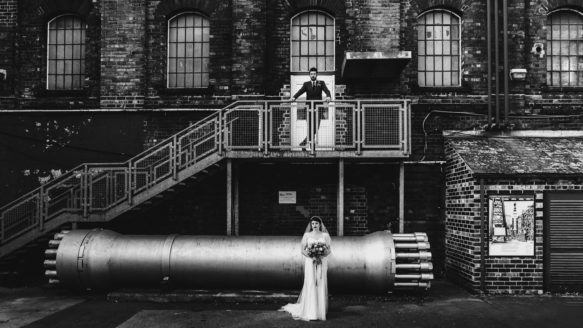 moody industrial wedding